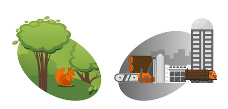 Technological process, deforestation and processing of forest, destruction forest, animal, factory timber processing, squirrel, chainsaw, isolated on white, flat vector iilustration. Concept banner.