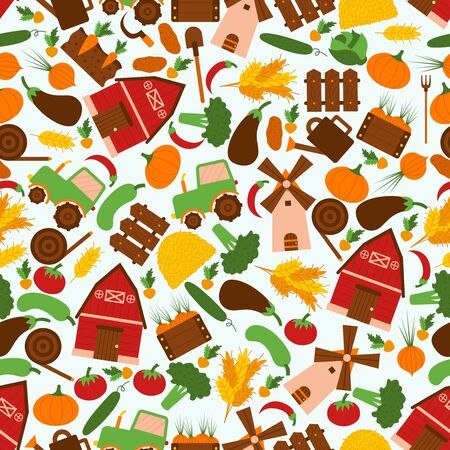 Organic, vegetables, grass, tractor, truck car seamless pattern, flat vector illustration. Healthy food, stuff, vegan, vegetarian meal. Wrapping design paper, packaging banner for wholesome stuff 向量圖像