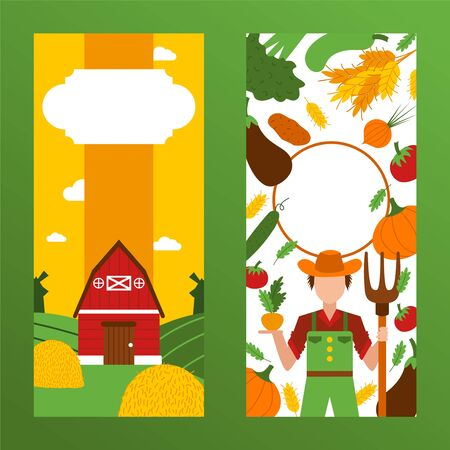 Text, font place poster, rural farmer in hat, harvest, character male, barn, vegetables, pumpkin, tomato, grass, flat vector illustraion. Healthy vegan vegetarian meal design wholesome foodstuff