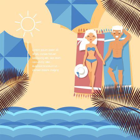 Beach shore, tropical ocean waterfront, character lovely couple male, female, hot weather temperature, flat vector illustraion. Design sandy beach umbrella banner, people rest, basking bright sun. 版權商用圖片 - 143440124