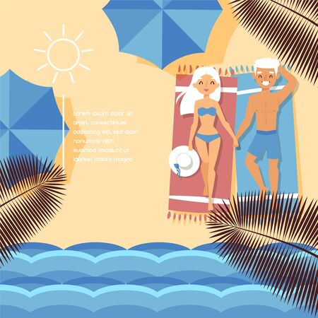 Beach shore, tropical ocean waterfront, character lovely couple male, female, hot weather temperature, flat vector illustraion. Design sandy beach umbrella banner, people rest, basking bright sun.