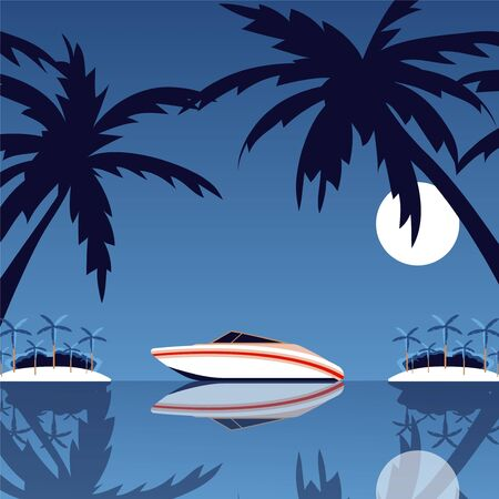 Boat located in tropical place, paradise island, palm tree leaf silhouette sand beach, shore, night moon sea, ocean trip, flat vector illustration. Surface water, design template, banner.
