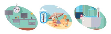 Workplace with instrument calibration, measuring device medical business, female rest in beach, high temperature, isolated on white, flat vector illustration. Measurement altitude, pressure, degrees. Иллюстрация