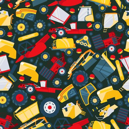 Tractor, truck car, big worker machine seamless pattern, flat vector illustration. Mechanical engineering, machinery, transporter. Wrapping design paper, packaging, banner for harvest technics.