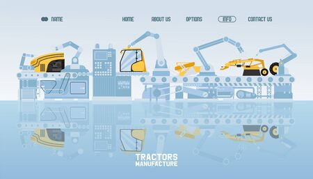 Tractor and combine manufacturers, flat vector illustration. Production industrial equipment. Contact, about us, home, options, info button. Agricultural business, industry. Website design template. Vectores