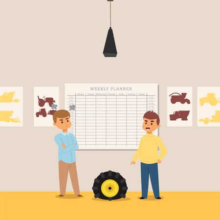 Training class, study of tractor and combine, truck car, worker machine flat vector illustration. Character people, teacher and student. Mechanical engineering, machinery, transporter.
