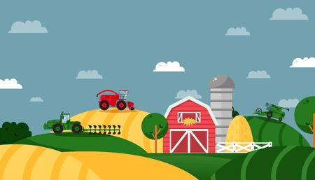 Farm field, agricultural business, working tractor, combine, working machine, flat vector illustration. Concept design banner. Farming area, warehouse, barn, straw Rural industry and company