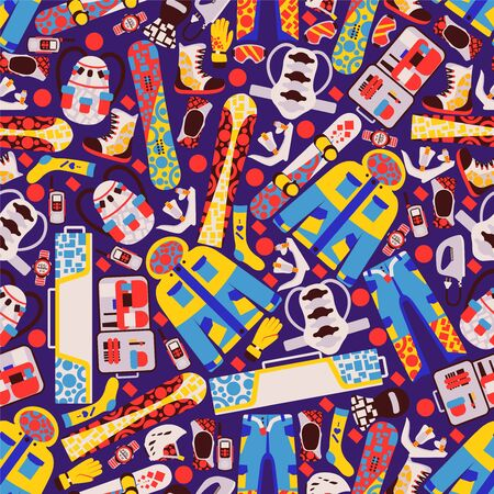 Snowboard stuff, extreme vacation, rest on mountain seamless pattern, banner, snowboarder, board, winter clothing, jacket, flat vector illustration. Wrapping design paper, packaging for winter sport.  イラスト・ベクター素材