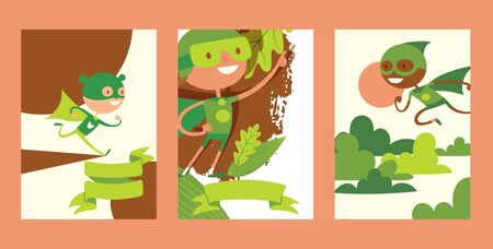 Kids dream, little child play in superhero character, kid male and female personage, flat vector illustration. Child vision, idea of superpowers, strong children actor, design website banner.