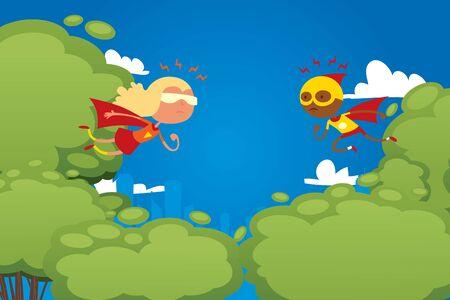 Child play in superhero, park game, character children male fight vs female, perform, flat vector illustration. Kids dream, superpowers, strong children actor, design website banner.
