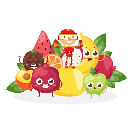 Children superhero character, stand fruit, berry, food for strong kid, vitamin, healthy, isolated on white, flat vector illustration. Kid dream, superpowers, strong children, design banner.