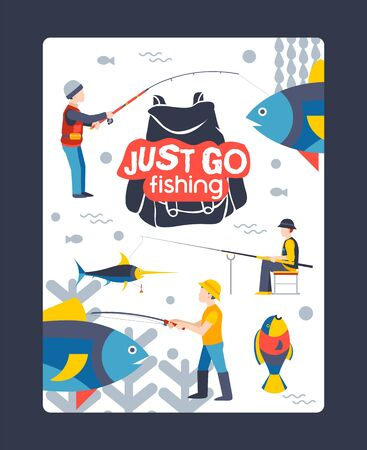 Just go fishing, character male, web poster, banner, flat vector illustration. Relax on river, lake, water, tropical and exotic fish, shore vacation. Design website. Peaceful relaxing. 矢量图像