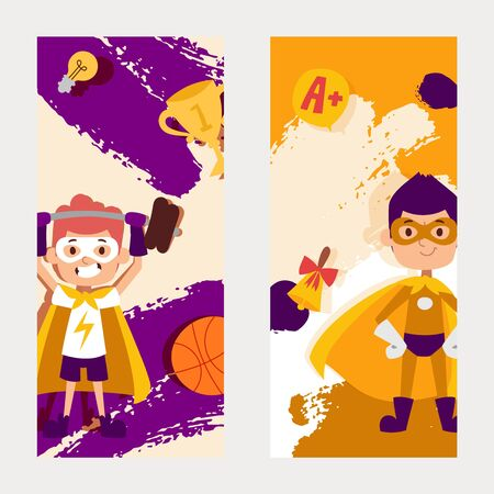 Real superpowers, smart, strong character kid, little man best physical form, cleverest, flat vector illustration. Kid with dumbbells, basketball, barbell, cup, call, best school estimate.