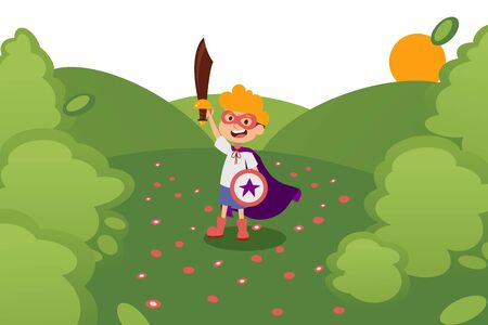 Character child play in wood, knight child with sword, shield, cloak, mask in outdoor park, sun, field, flat vector illustration. Kid dream superpowers, save the world. Male child fantasize, daydream.