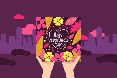 Pair hands holding gift card, happy valentine day, celebrate 14 february, lovers day, flower, flat vector illustration. Megapolis silhouette background, festival of infatuation, couple amorous date.