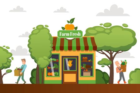 Farm fresh shop, character male buy vegetables, street shop, store, green agriculture food, flat vector illustration. People carry bags healthy food, vegan diet, design banner wholesome meal.