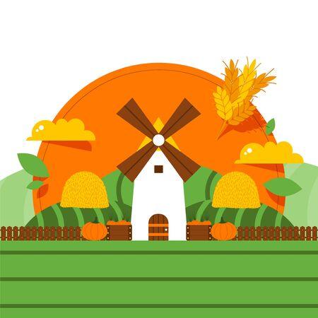 Windmill rural barn, organic food, harvest, farmer rye field, crop, sun, flat vector illustration. Design banner, healthy, vegan, vegetarian meal, pumpkin gluten green area wholesome foodstuff
