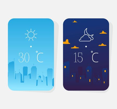 Weather poster, concept night and day result megapolis background, isolated on white, flat vector illustration. Meteorological forecast for city, design banner, atmospheric prediction.