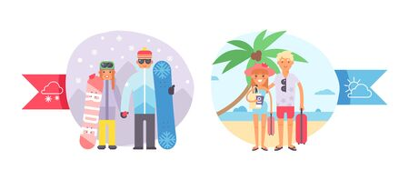 Different world weather, cold, hot temperature, character couple people, snowboard, winter sport and tropical vacation, isolated on white, flat vector illustration. Human rest in sand shore, mountain.