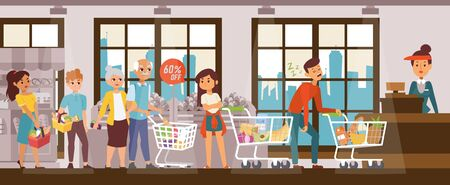 Sleep problems, exhausted man in supermarket hold up queue, vector illustration. Disgruntled customers standing behind sleeping character guy near cash register. Cartoon shop with showcase, windows.