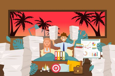 Sleep problems, workaholic neglects rest vector illustration. Man transferred work home, lot papers, documents in cartoon bedroom. Disgruntled wife next to motivated husband, banner.