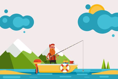 Man on boat with motor engaged in fishing, vector illustration. Character in picturesque place hold fishing rod and catch fish banner. There bait on deck, bucket for catch, pond, mountain.