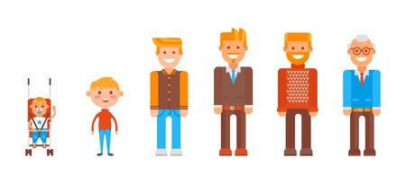 Character from infancy to old age set, vector illustration. Cartoon element, child in stroller, little ginger boy and teenager in command uniform. Guy in suit with beard, man in sweater and pensioner.
