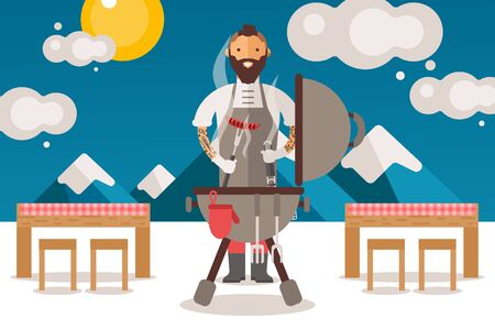 Chief people cooks sausages on grill, vector illustration. Character man with beard and tattoos in apron at barbecue, cook outside, work at nature. Picnic tables with checkered tablecloth.