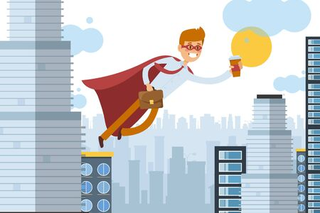 Superhero assistant flies to work with takeaway coffee, business worker vector illustration. Man in cloak move through air, power in worker speed. Cartoon office in big city skyscraper.