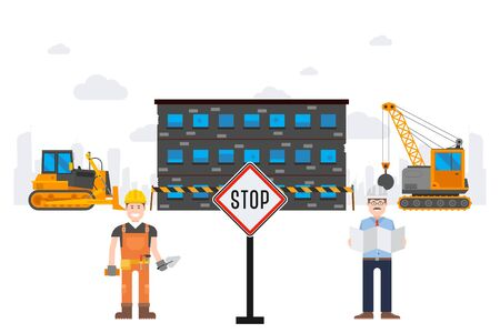 Chemical plant destruction tracked result vector illustration. Stop sign in front working object, excavator near condemned building. Project manager and builder oversee work in city. Illustration