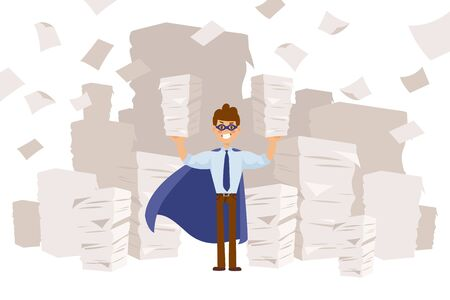 Superhero in long cloak and mask, business character vector illustration. Guy holds in hands large paper piles, work with documentation. Cartoon accountant s superpower in office space.