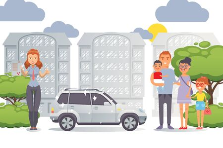 Flat people family buying new car, vector illustration. Parents with character children standing at car dealership, they conclude agreements with seller. Shiny new jeep for family.