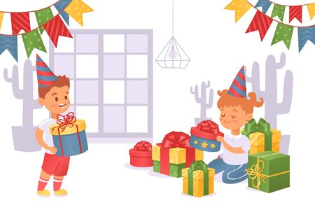 Boy brought gift box to girl in festive cap vector illustration. Birthday girl consider gifts, beautiful boxes with bows. Decorated room with garland, invited friend character happy inside. Vektorgrafik