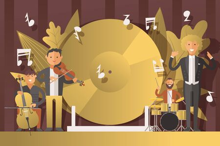 Performance people musicians in suits, vector illustration. Men character play classical music on musical instruments, violin, cello and drums. On stage conductor with wand, chamber concert inside.