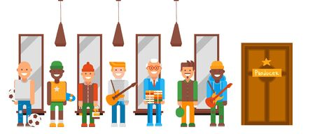 Character with different talents set vector illustration. Men in line at door producer who sponsor their hobby. Guys with guitar, athletes, scientist with books, artist and flat pinball player.
