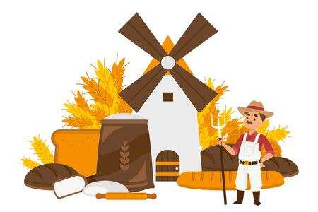 Bread manufacturing steps set vector illustration. Wooden mill grinding wheat into flour cartoon. Man character with pitchfork, agricultural worker. Bread loaves, rolling pin, bag flour.