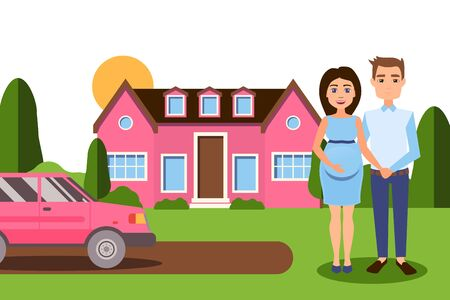 Pregnancy final in wealthy family vector illustration. Happy couple, husband and wife expecting baby standing near cartoon large house and car. Character girl with tummy hold man hand.
