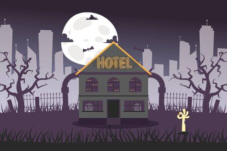 Neon banner gloomy hotel near abandoned cemetery vector illustration. Dark haunted house, eyes in windows. Hotel lettering illumination under building roof. Full moon in night sky.