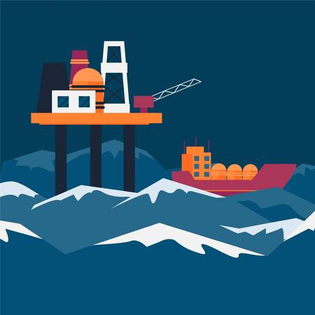 Oil station for extraction natural elements in sea, ocean vector illustration. In waves pond ship on which oil delivered banner. Work in elements, special construction over cartoon water.