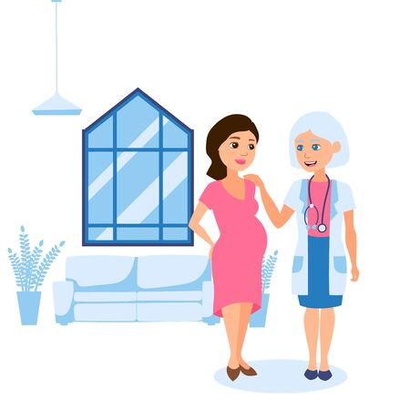 Pregnancy final, consultation with personal obstetrician gynecologist vector illustration. Woman with big tummy talking to elderly doctor in clinic. Hospital worker with stethoscope, bright room. 일러스트