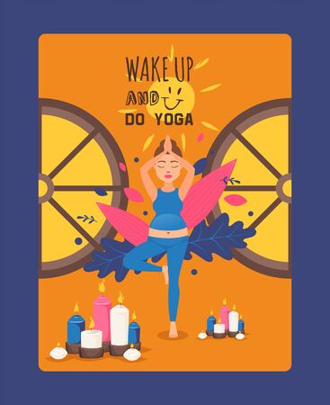Wake up and do yoga during pregnancy final vector illustration. Pregnant girl in tracksuit perform exercises for stretching and meditation. Soothing atmosphere during child bearing.