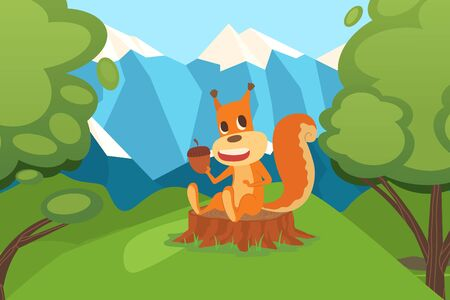 Squirrel with acorn sitting on stump in clean environment forest vector illustration. Natural residence small animal rodent. Squirrel character collects acorns for winter, harvesting by cold season.