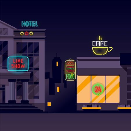 Neon banner, bright signs, illumination in night city vector illustration. Three-star hotel, live show, 24-hour cafe and burger food on main street. Visible advertisement for people in evening.