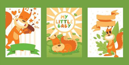 Squirrel poster my little baby with a fluffy tail, vector illustration. Happy animal with beloved acorn, rodent resting in grass and sleeping. Squirrel smiling near template for postcard text. 일러스트