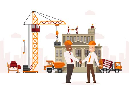 Construction technic, conclusion agreement between businessmen vector illustration. Hoisting crane at facility, builder team working hard. Concrete mixer and large truck near building, repair.