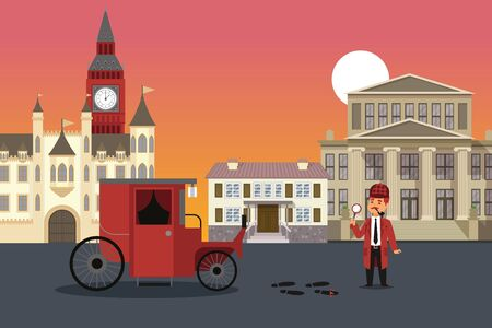 City street investigation, detective result vector illustration. Man with magnifying glass examines crime evidence, blood and shoes traces. Keb waiting for detective to continue journey. 向量圖像