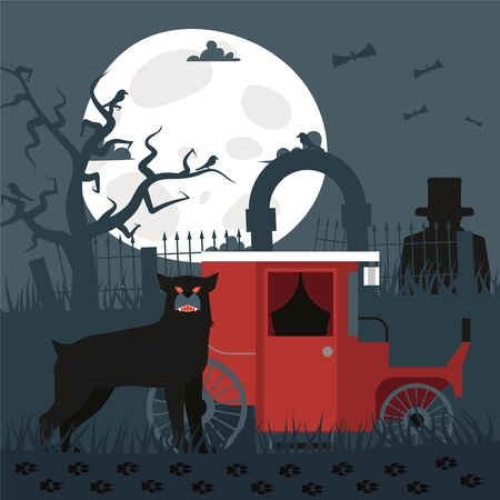Sherlock Baskervilles dog hound result, vector illustration. Terrible big dog standing by keb, its owner criminal man in top hat standing behind fence. Investigation outside city, night searches.