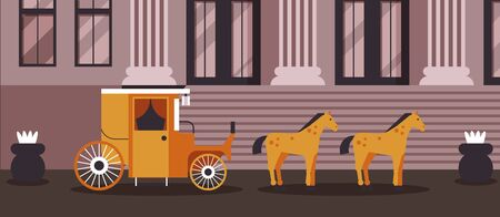 Sherlock result, horse-drawn cab vector illustration. Public transport stands near large building with columns government use outside. Detective disguise in cartoon hired carriage. Illustration