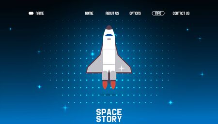 Space story webpage, rocket flight result vector illustration. Landing banner site about travels outside Earths orbit, study new cosmic bodies, planets, comets, stars. Astronomical circle home page.