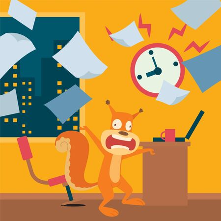 Squirrel late in making work, worries about deadline vector illustration. Animal character panic at workplace, overtime work in office until late. Laptop, watch and cup coffee for energy. Illustration